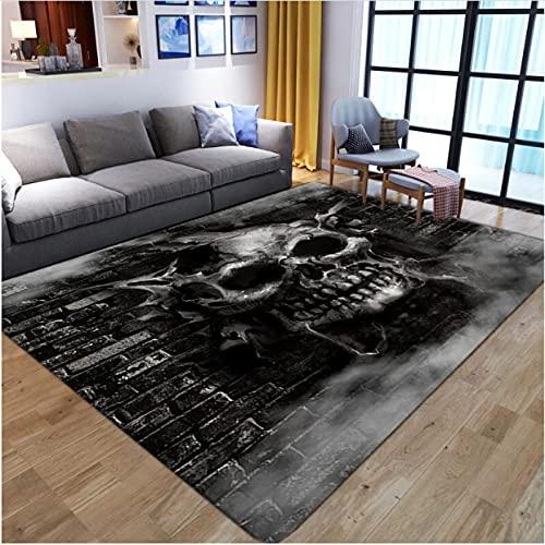 XIAIEWEI Terror, felpudos de Halloween, Calaveras de Terror, Alfombrilla de impresión 3D de Franela, decoración nórdica para habitación de hogar, Dormitorio, 200 * 300 cm