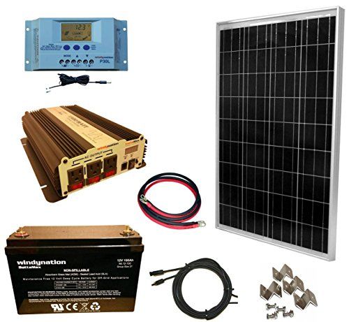 WindyNation 100 Watt Solar Panel Kit + 1500W VertaMax Power Inverter + 100ah AGM Deep Cycle Battery for RV, Boat, Off-Grid 12 Volt