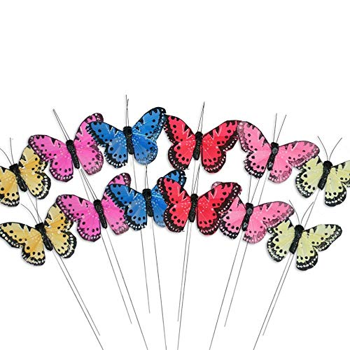 BANBERRY DESIGNS Butterfly Decorations - Set of 12 Feather Butterflies on Floral Picks - Assorted Colorful Feathers and Wings - 3 ½ Inch Flowers Artificial Butterfly