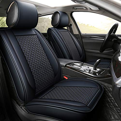 INCH EMPIRE Car Seat Cover 2 Front-Football Liner Half Perforated Synthetic Leather Cushion Fit for...