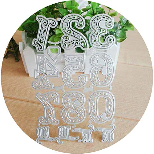 Dies Cut Lace Numbers Metal Cutting Dies Stencil Mould Template for DIY Scrapbooking Photo Album Decorative Stencils Embossing Paper Card Making Craft 10 Number Set 6.89x4.34inches