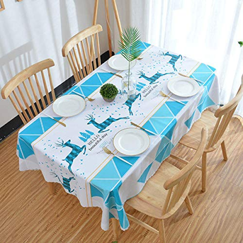 Traann tafelzeil, vierkant tafelkleed voor tafelkleed, pvc, reinigt oliebestendig, waterdicht, vuilafstotend, anti-verbranding, salontafelkleed, eland, geometrisch, 90 x 150 cm