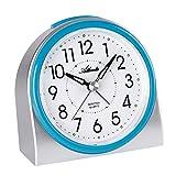 Atlanta 2170/5 - Despertador moderno sin tic-tac, luz, alarma intermitente, cuarzo, color plateado y azul