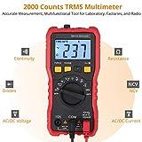 Multímetro Digital 2000 Cuentas Polimetro Ohmimetro Capacimetro TRMS NCV ACVHz Hz Voltaje y Corriente AC DC Capacitancia Temperatura Continuidad Diodo con Luz de Fondo Linterna y Soporte Posterior