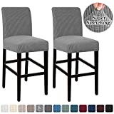 High Stretch Bar Stool Cover Pub Counter Stool Chair Slipcover for Dining Room Cafe Furniture Chair Seat Cover Stretch Protectors Non Slip with Elastic Bottom Set of 2, Dove