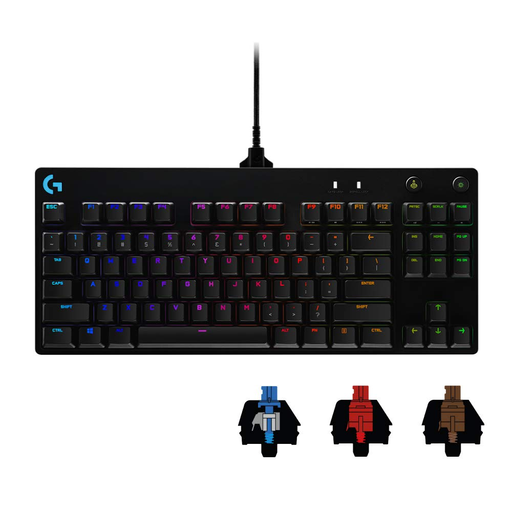 Logicool G PRO X ゲーミングキーボード テンキーレス 有線 GXスイッチ クリッキー 日本語配列 LIGHTSYNC RGB 着脱式ケーブル G-PKB-002 国内正規品