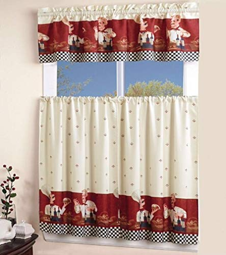 EHP 3 Piece Printed Kitchen Curtain Set, 1 Valance & 2 Tiers (Chef)