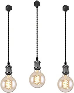 Kiven 3-Lights H System Track Mini Pendant, Pearl Black Finish Lamp Holder Fitting Track Light Kit, Rose Pendant Braided Fabric Flex Cord Length 23.62 in,TB0123-60CM
