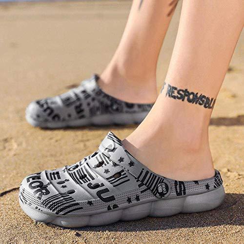 SYWJ Pantuflas de algodón Antideslizantes Chanclas con Tiras de Dedo para Mujer, Zapatos con Agujeros, Zapatos de Playa Antideslizantes para Parejas, Gris English_38, Zapatos de Piscina con tobog