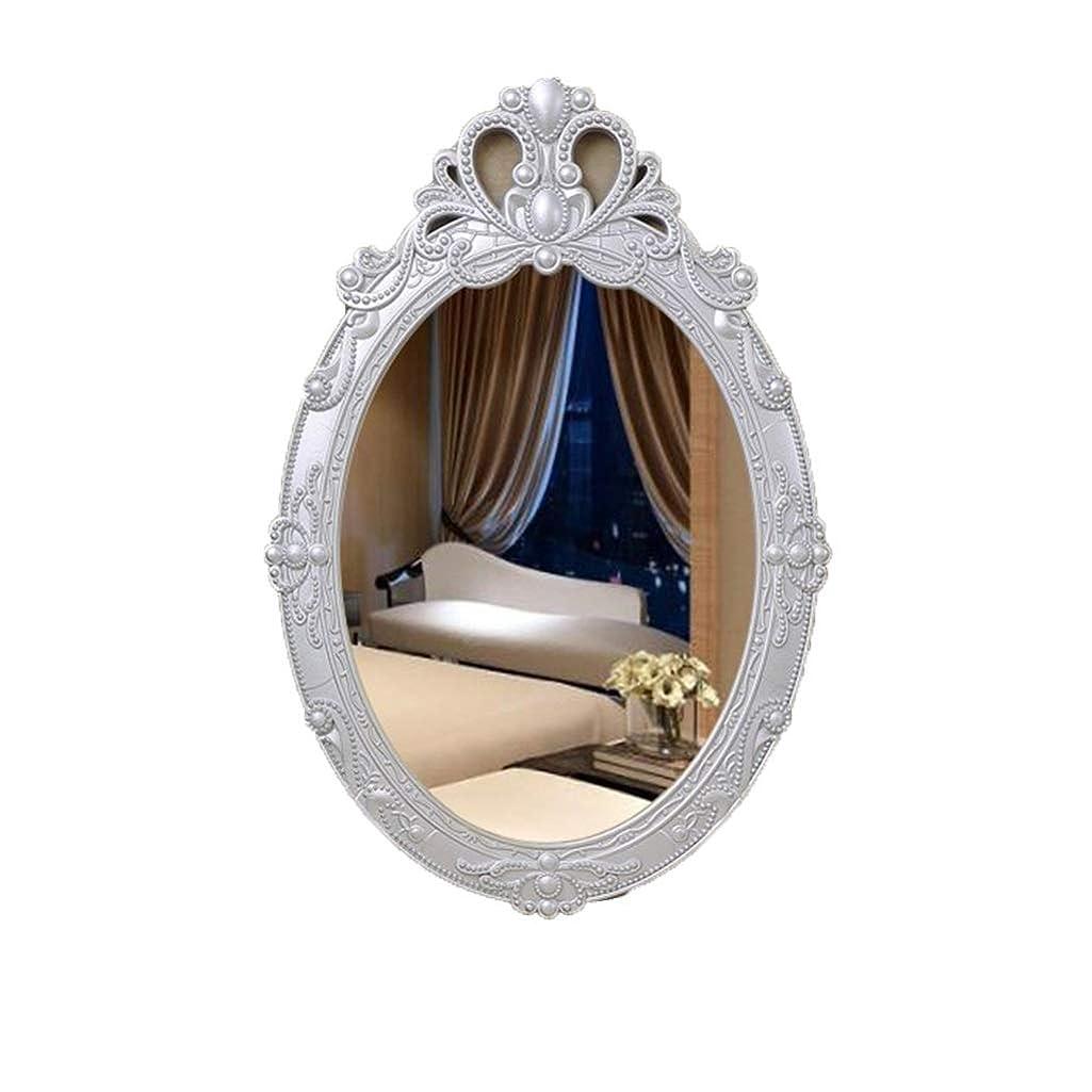 コジオスコアノイ粗い壁用ラウンドミラー 木造 壁掛けミラー 現代の 美容化粧鏡 寝室用家具 (Color : Silver)