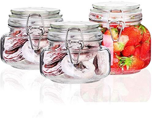 AMOYEE Verre, Jars Sealed Fruit de la Passion, Une Bouteille de Miel Citron, Pot de Confiture, Pot de Stockage, Bouteille en Verre, 3 Sets