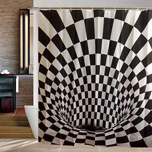GOODS+GADGETS 3D Duschvorhang mit Optik Täuschung optischer Schwarz-Weiß Illusion