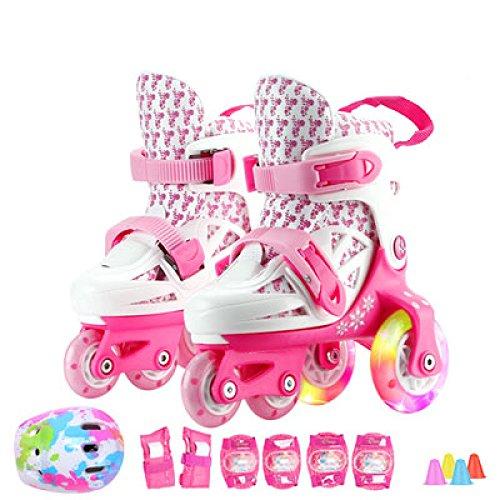 Inliner Kinder Einstellbar 4 Räder Inline Skates Kinder Jungen Mädchen Kleinkinder Anfänger Flash PVC Rad Atmungsaktive Skating Schuhe Schutz Set 3-8 Jahre Alt,Pink-M(28-32)