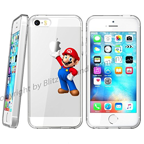 Handyhülle Disney Comic Cartoon Figuren kompatibel für iPhone 6 / 6s Super Mario Schutz Hülle Case Bumper transparent M13