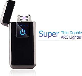 FL5018 Double Arc Plasma USB Lighter Rechargeable Windproof Flameless Electric Lighter (Black)
