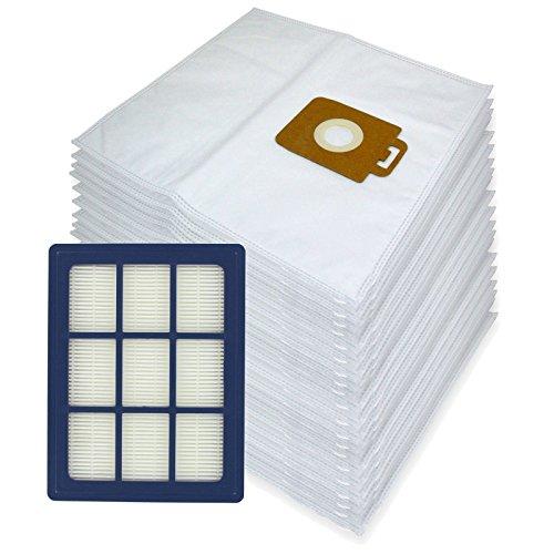Spares2go Sacs d'Chiffon de nettoyage en microfibre + H12 Filtre HEPA pour Nilfisk Power P40 + Allergy Aspirateur (lot de 20 + cartouche de filtre)