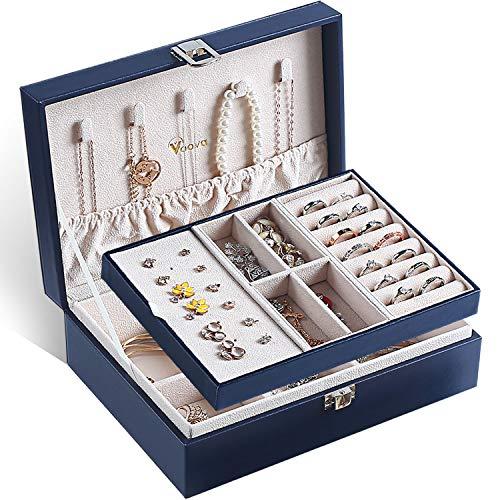 Voova Caja Joyero para Mujer, Organizador Joyas de 2 Niveles, Grande Jewelry Organizer Box de PU Cuero, Caja Joyería de Tabique Extraíble para Anillos Pendientes Pulseras y Collares 🔥