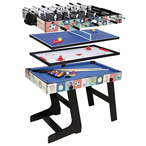 Fran_store Multi Combo Game Table, Folding Multi Game Combination Table Set with Soccer Foosball Table, Pool Table, Hockey Table, Table Tennis Table(4FT 4 in 1)