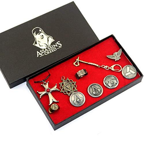 AG Einfache Persönlichkeit Assassin 'S Creed Anhänger Kreuz Halskette Assassin' S Creed Ring Abzeichen Brosche Schlüsselanhänger Legierung Set Zubehör