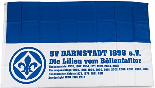 Flaggenfritze Hissflagge SV Darmstadt 98 Erfolge - 90 x 150 cm + gratis Aufkleber
