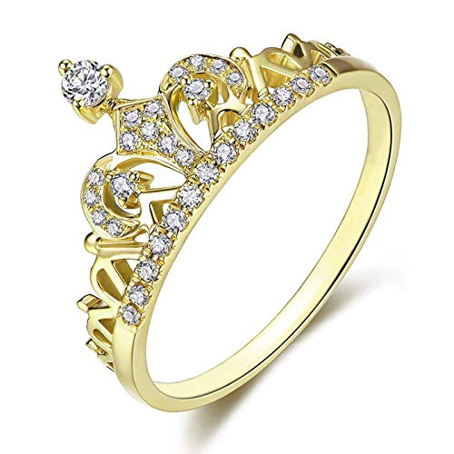 Princess Queen Crown Rings for Women Girl Eternity Heart-Shaped Promise Ring Zircon Jewelry Gold Size 4