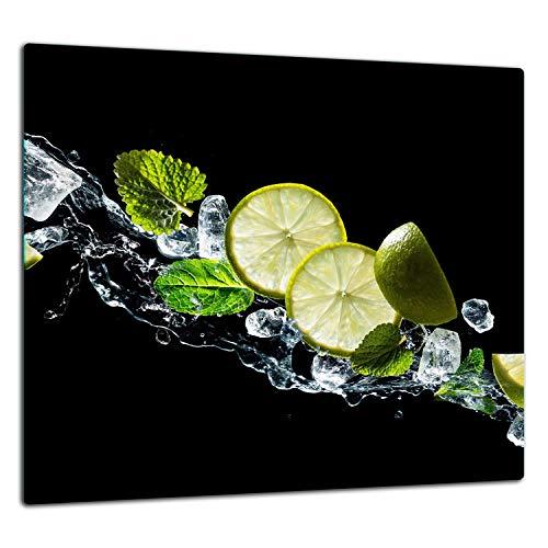 TMK Crédence de cuisine en verre trempé 65 x 60 cm – Verre décoratif avec ruban adhésif – paroi arrière en verre pour cuisine, eau, citron