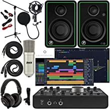Mackie Big Knob Studio Monitor Controller and Audio Interface with Pro Tools First/Tracktion Music Production Software, CR3-X Monitor Pair Condenser Studio Microphone, XLR, Headphones, Mic Stand