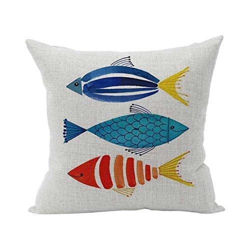 Kissenbezug als Deko für Ihr Sofa, UBabamama Fisch im Marine-Look, Vintage-Stil, süßer quadratischer Kissenüberzug