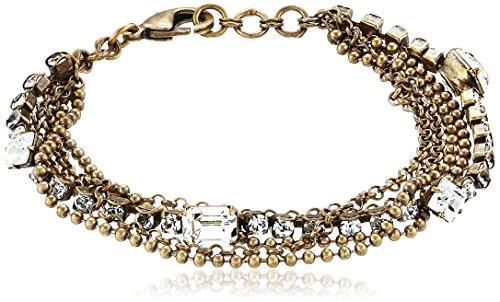 Sorrelli Crystal Clear Gold-Tone Multi-Strand Crystal and Chain Bracelet, 6.5