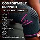 UFlex Athletics Knee Compression Sleeve Support for Women and Men - Knee Brace for Pain Relief, Fitness, Weightlifting, Hiking, Sports - Red, Medium #2