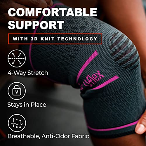 UFlex Athletics Knee Compression Sleeve Support for Women and Men - Knee Brace for Pain Relief, Fitness, Weightlifting, Hiking, Sports - Red, Medium