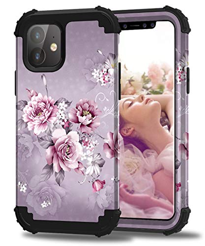 Hocase iPhone 11 Case, Heavy Duty Shockproof Protection Hard Plastic+Silicone Rubber Bumper Hybrid Dual-Layer Protective Case for iPhone 11 (6.1-inch Display) 2019 - Light Purple Flowers