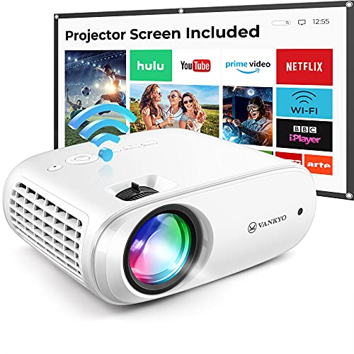 "VANKYO Cinemango 100 WiFi Projector, Mini Projector for Outdoor Movies with 100'' Projector Screen, 220"" Display & 1080P Supported, 55,000 Hours LED Lamp Life, Compatible with HDMI/TV Stick/USB"
