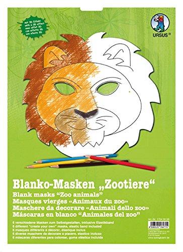 Ursus 17040099 - Masken Zootiere, blanko, 6 Stück