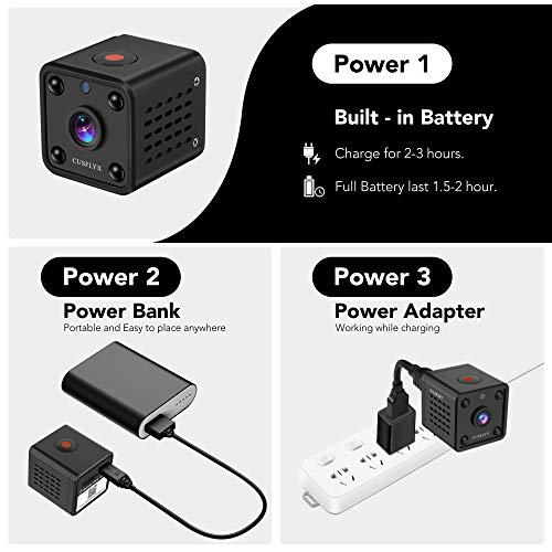 【2021Upgrade】 Mini Kamera - CUSFLYX WiFi 1080P HD Kamera Wireless Tragbar Nanny Cam Haustier Büro Garage Heim überwachungskamera IR Nachtsicht 150° Weitwinkel Bewegungserkennung für IOS/Android