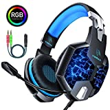 YINSAN PS4 Headset Gaming Headset für Xbox One, 7 LED Leuchten Stereo Surround Sound Soft Memory Ohrenschützer Gaming Kopfhörer mit Mikrofonabschaltung und Lautstärkeregler PC Headset