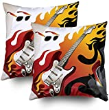 My Pillow Fundas, fondo conceptual con ilustración vectorial de guitarra eléctrica, 45.7 x 45.7 cm, juego de 2 fundas de almohada para decoración del hogar dormitorio y sofá
