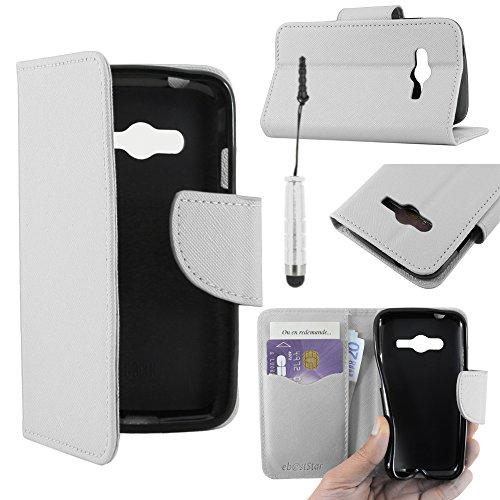 ebestStar - Cover Compatibile con Samsung Galaxy Trend 2 Lite SM-G318H, Galaxy V Plus Custodia Portafoglio Pelle PU Flip +Mini Penna, Bianco [Apparecchio: 121.4 x 62.9 x 10.7mm, 4.0'']