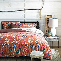 Amazon Tropical Garden Luxury 3 Piece Duvet Cover Set Island Tree Branch and Birds Multicolored Floral Pattern 100-percent brushed Cotton Twill (Queen)
