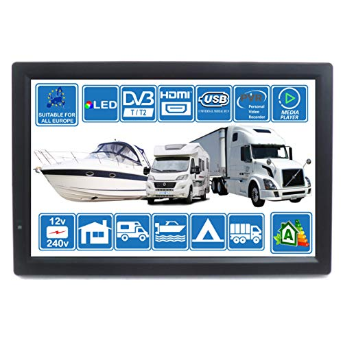 MOTORHOME CARAVAN BOAT KITCHEN 12 Volt 14 Inch LED Digital HD TV DVB-T2. Freeview HD and all Europe Free to The Air TV. 12V 240V USB PVR & Media Player, HDMI CCTV Monitor by Unispectra® (For UK)