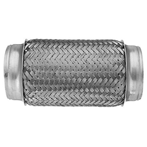 "Kippdämpfer Auto-Auspuff-Flex-Rohr Doppelgeflecht-Auspuff-Tipp 3""x8"" -Anzweig-Edelstahl 76x195mm"