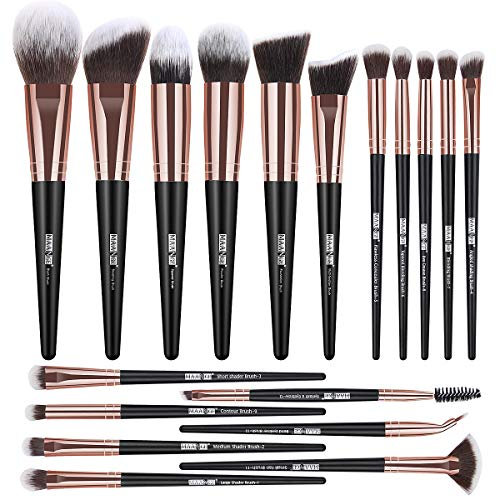 Makeup Brushes, 18 Pcs Professional Premium Synthetic Makeup Brush set, Foundation Powder Concealers Eye Shadows Make up Brushes (Black Gold)
