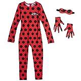 Miraculous Ladybug Little Girls Full Body Long Sleeve Jumpsuit Red 5