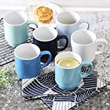 XJUNCUMU Stackable Coffee Mug Set of 6, 16 Ounce Coffee Cups with Handle, Porcelain Mugs for Coffee Tea and Cocoa, Stacking Ceramic Tea Cups for Men Women, Assorted Colors