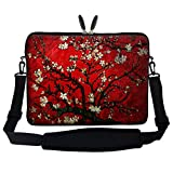 Meffort Inc 14 14.1 Inch Neoprene Laptop Sleeve Bag Carrying Case with Hidden Handle and Adjustable Shoulder Strap (Vincent Van Gogh Cherry Blossom)