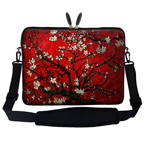 Meffort Inc 14 14.1 Inch Neoprene Laptop Sleeve Bag Carrying Case with Hidden Handle and Adjustable Shoulder Strap (Vincent Van Gogh Cherry Blossom)