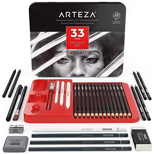 Arteza Lápices de dibujo profesional, estuche de 20 lápices de grafito y 4 de carbón, 1 delineador, 3 mezcladores, 1 sacapuntas, 3 borradores y 1 cutter de precisión para principiantes y expertos