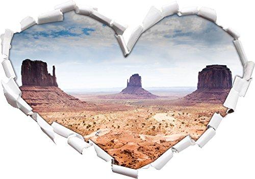 Forme de Coeur Monument Valley USA dans Le Regard 3D, Mur ou Une Porte Autocollant Format: 92x64.5cm, Stickers muraux, Stickers muraux, Wanddekoratio