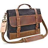 NEWHEY Mens Messenger Bag Waterproof Canvas Leather Computer Laptop Bag 15.6 Inch Briefcase Case Vintage Retro Waxed Canvas Genuine Leather Large Satchel Shoulder Bag College Grey
