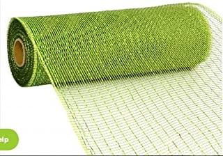 Deco Poly Mesh Ribbon, 10 Inch x 30 Feet - Metallic Moss and Apple Foil